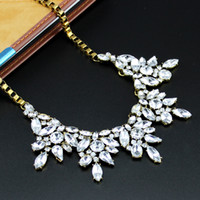 chunky necklaces - 2014 Vintage Crystal Flower Statement Necklace Square Chunky Chain Short Party Jewelry Cheap For Women
