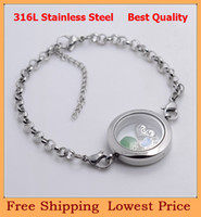 Link, Chain Unisex Fashion Wholesale-OP-Valentine's Day Gift Fashion DIY 8''+2'' 25mm Silver 316L stainless steel living magnetic glass floating locket bracelets B16