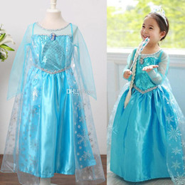 Wholesale In Stock New Frozen Girls Party Dresses Baby Queen Elsa Anna Princess Dresses Kids Sequin Dresses Christmas Children Dresses