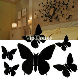 Promotion !New DIY 3D Wall Sticker Butterfly Home Decor Removable Room Decorations Stickers Black Medium Size b7 4697