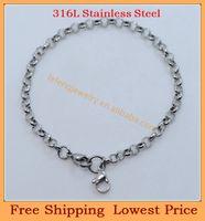 Wholesale OP Lose Money Promotion DIY rolo chains for L stainless steel floating locket bracelets B104