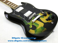Solid Body 6 Strings Solid Hardwood SG Camouflage Color Yellow Green Black Closed H-H 2 Pickups Silver Hardware Rosewood Fingerboard Mahogany Top Electric Guitar No.0064-14