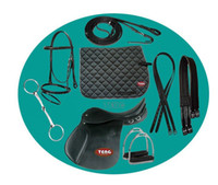 Wholesale 2012 NEW Set quot Cowhide Leather Synthetic Horse Saddles set amp Black