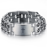 Wholesale Male Stainless Steel Chain Bracelet Scripture Cross Pendant Double Silver Chain Wide Luxury Men Jewelry Christmas Gifts S006