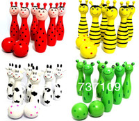 Wholesale MN The Wooden Bowling with Animal Design Learning System Family Game Education Learning Toys Kids Toy