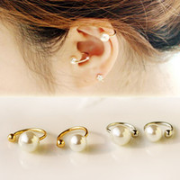 Wholesale 2014 newest ear cuff fashion women s spring jewelry simple stylish simulated pearl non pierced clip earrings sizes colors