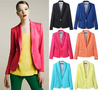 Wholesale Women Suit Blazer Foldable Brand Jacket Candy Colors Black Yellow Orange Red Blue Navy Blue New Hot