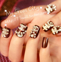 Wholesale MN New beautiful excellent quality classic d Diamond decor chocolate False nails
