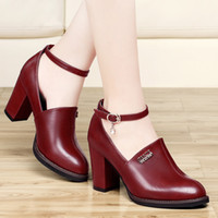 Women mary jane - 2014 dress shoes mary jane shoes chunky heels shoes for lady block heels wine red shoes dress shoes with strap buckle shoes wedding shoes