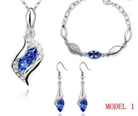 Wholesale Swarovski Elements Crystal Drop Earrings Pendant Necklace Jewelry Hand Chain set