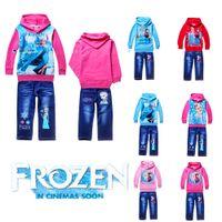 Wholesale 2014 New Fashion Frozen elsa anna jeans hoodie Clothing set High Quality winter outwear suit sets TM