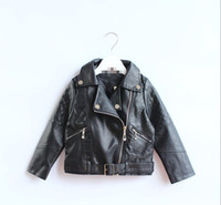 Girl kids leather jackets - Autumn baby amp kids clothing Girls PU leather long sleeved leather jacket Children kids leather jacket