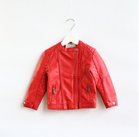 kids leather jackets - Brand New Autumn kids clothing Girls PU leather long sleeved leather jacket Children kids leather jacket
