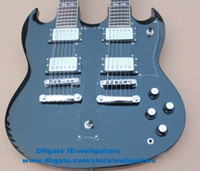 Solid Body  6 12 18 Strings Solid Hardwood SG Black H-H 2 Pickups Silver Hardware Double Necks 6 12 18 Strings Jade Tuning Machines Rosewood Fingerboard Electric Guitar No.0059-79