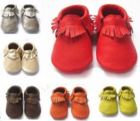Wholesale Baby moccasins soft sole moccs genuine leather prewalker booties toddlers babies infants fringe cow leather moccasin shoes maccasions shoe