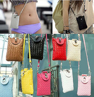 Wholesale Womens Mini Cell Phone Case Lovely Phone Bag Exquisite Phone Pouch Multipurpose Woven Bag CA05055