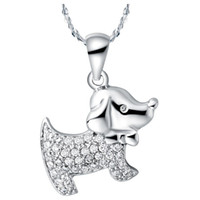 Chains Fashion Pendants Wholesale Jewelry 925 Silver Pave Crystal Fashion Necklaces for Women Kids Boy Girls Baby 2014 Dog Charms Necklace Pendants N591
