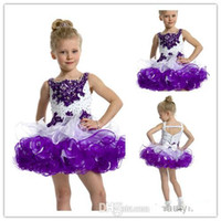 Girl purple wedding dress - Purple And White Little Flower Girl Dresses For Wedding Event Spaghetti Straps Organza Beaded Short Mini Children Pageant Dress Glitz