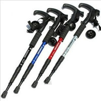 Wholesale Adjustable Anti Shock Hiking Cane Walking Pole Trekking Walk Stick Crutches New random color Mountaineering Walking Stick ZO84