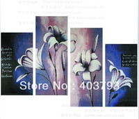 Wholesale huge wall art modern beautiful lily flower p oil painting of modern oil painting on canvas