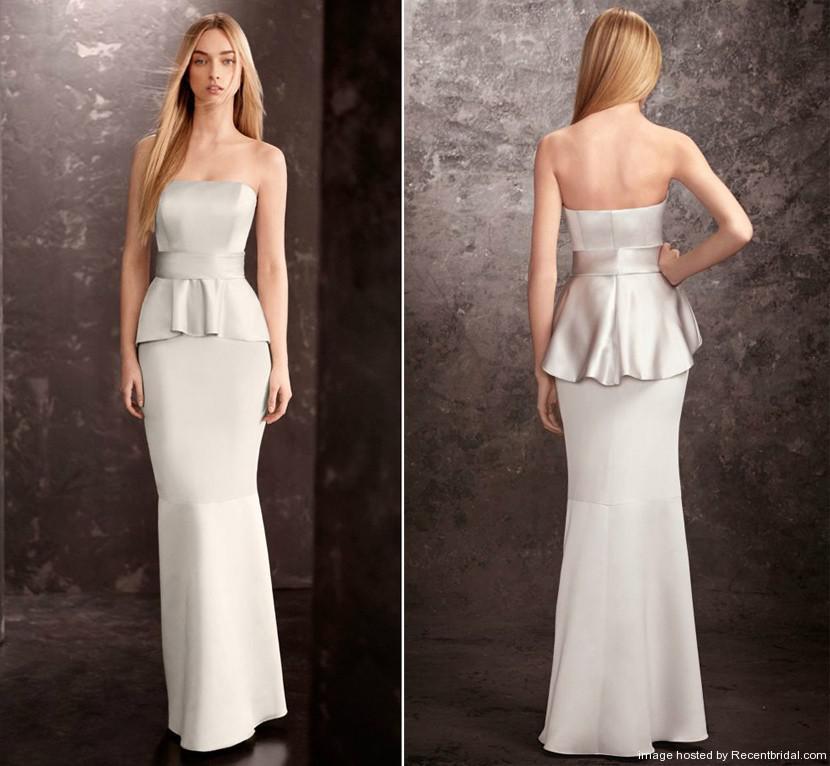 Silver mermaid peplum bridesmaid dress long bridesmaid for Peplum dresses for wedding guest