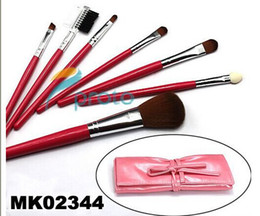 NEW 7 pcs make up Cosmetic Brush Set with soft roll-up pink case