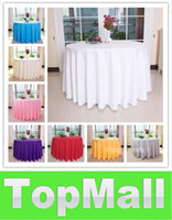 Wholesale JJ977 Round Polyester White Wedding Banquet Tablecloth Inch Inch Inch Inch