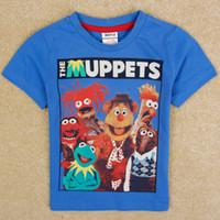 Wholesale 2014 new Nova baby boys clothes cartoon the Muppets print boys t shirts nova kids summer clothing cotton fabric C4979Y for Christmas gift