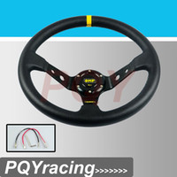 Wholesale 14 quot MM OMP Steering Wheel PVC Leather Steering Wheel Inch OMP Steering Wheel Deep Corn Dish and Retailer