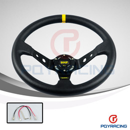 Wholesale 14 quot MM OMP Steering Wheel PVC Leather Steering Wheel Inch OMP Steering Wheels Deep Corn Dish and Retailer