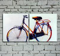 Большой ручной росписью Абстрактный велосипед масло искусства стены для украшения дома в гостиной или спальне 2pcs неструктурированный