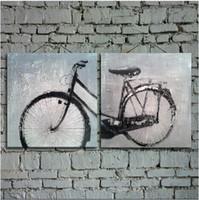 Ручная роспись Картина Абстрактный велосипед масло искусства стены для украшения дома в гостиной или спальне 2pcs неструктурированный