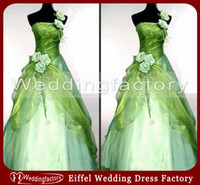 green wedding gown - Vintage Green and White Wedding Dress Ball Gown One Shoulder Draped Bridal Gown with Flowers
