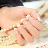 Full Natural Tips Square  Nail Tips Wholesale-MN-1set 24pcs Classic French Short False Nails With 2g glue HN0086