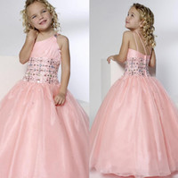 Reference Images ball gown flower girl dresses - 2014 pink organza Pretty Beadings Girls Pageant Dresses Princess One Shoulder Ball Gown Floor Length Zipper Tulle Flower Girls Dresses SSJ