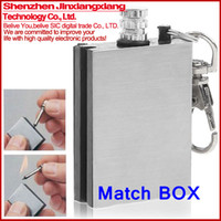 Wholesale Portable Survival Tool Stainless Steel Fire Metal Match Lighter Kit with keychain