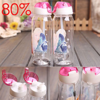 Wholesale Christmas Gift Frozen Drinkware Cups Anna Elsa Princess Kids Cartoon PP Suction Cup Water Bottle Straw Sports Bottles Free DHL Factory Price