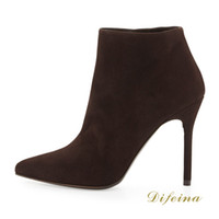 Cheap cheap winter boots Ankle Boots Pointed Toe Brown Woman Short Boot Deerskin Leather Women's Martins Boots Side Zipper Stiletto Heel 12cm