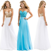 Wholesale SSJ New Modest In Stock Prom Dresses With Sweetheart Beaded Sequins Backless A Line Long White Blue Evening Pageant Party Gowns AJ025