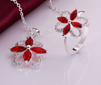 Wholesale Top Quality Perfect sterling silver Swarovski Elements Ruby CZ women hot crystal pretty Necklace Ring cute set hot fashion Jewelry S764