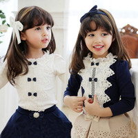 Wholesale new autumn winter Baby Kids Clothing Children s girls long sleeve cartoon printed lace T shits LY