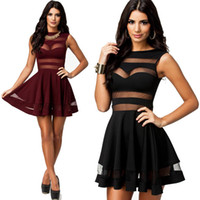 Casual Dresses Street Style Summer Newest Sexy Women A Line Dress Backless Mesh Tulle Patchwork Black Burgundy Casual Dress AAA+ best Quality 0803