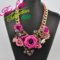 Wholesale New Design Necklace ZA Spring Gold Chain Spray Paint Metal Flower Crystal Necklace Luxury Jewelry for women dress