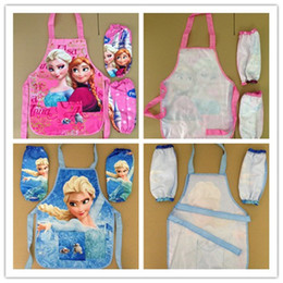 Wholesale Frozen ELSA ANNA Printe Kids Childrens Cartoon Cooking Art Painting Smock Apron Set Sleeveless Aprons Oversleeves Pink BLUE