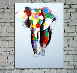 Great Handpainted Animal Oil Painting On Canvas Beautiful Colors Elephant Picture Art For House Wall Decoration 1pc