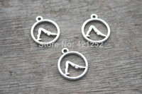 dog charms - 70pcs OM Yoga Charms Antique Tibetan Silver Dog Yoga Pose Zen charm pendant X16mm
