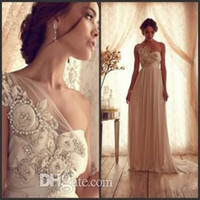 Reference Images artificial shoulder - Anna Campbell One Shoulder Empire Beaded Bow Ribbon Artificial Flowers Chiffon Garden Beach Sheath Wedding Dresses for Pregnant Woman