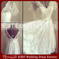 country wedding dresses - Beautiful Lace Short Country Wedding Dresses with Sexy Deep V Neck and Elegant Short Sleeve A line Glamorous Backless Beach Bridal Gowns