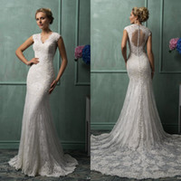 Trumpet/Mermaid Reference Images V-Neck Amelia Sposa Wedding Dress 2014 Collection Mermaid V Neck Sleeveless Chapel Train Covered Button Lace Bridal Gown Custom made EM02826