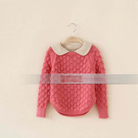 Girl cotton - Warm Autumn Children Kids Clothing Collar Cotton Wool Pullover Knitting Sweaters Sweater Hook Flower Yellow Dark Blue Red Girl Cloth K0531